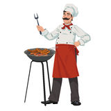 Chef cooks barbecue sausages Royalty Free Stock Photo