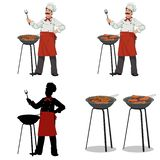 Chef cooks barbecue.Set of four illustrations Royalty Free Stock Images