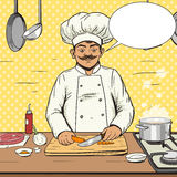 Chef cooks food pop art style vector Royalty Free Stock Photography