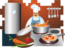Chef cooks in a kitchen. Chef cooking hotchpotch and spaghetti with vegetables on electric cooker. Man with a serious look on one's face Royalty Free Stock Photo