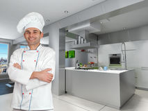 Chef in cool industrial kitchen Royalty Free Stock Photo