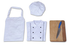 Chef costume with cutting board Royalty Free Stock Image