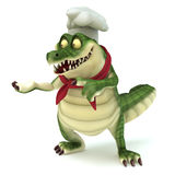Chef croc showing pose. 3d render cartoon of croc collection Stock Image