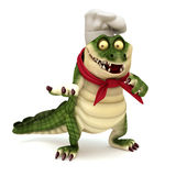 Chef croc showing pose. 3d render cartoon of croc collection Stock Photography
