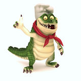 Chef croc thumb up. 3d render cartoon of croc collection Stock Image