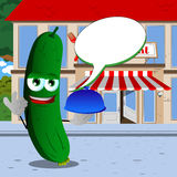 Chef cucumber or pickle with ok sign in front of a restaurant with speech bubble Stock Photos