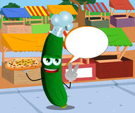 Chef cucumber or pickle with pizza gesturing the peace sign on the market with speech bubble Stock Photography