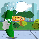 Chef cucumber or pickle with pizza holding a stop sign in the city park with speech bubble Royalty Free Stock Images