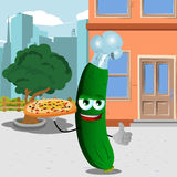 Chef cucumber or pickle with pizza showing thumb up in the city Stock Images