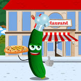 Chef cucumber or pickle with pizza showing thumb up in front of a restaurant Stock Photography