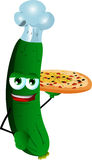 Chef cucumber or pickle showing a delicious pizza Stock Photo