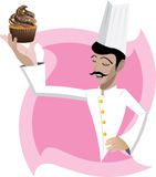 Chef and cupcake. Illustration of chef with cupcake on abstract background stock illustration