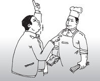 Chef and customer. Vector image of a customer complaining to a chef vector illustration
