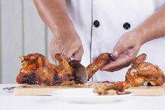 Chef cut Grilled turkey Royalty Free Stock Image