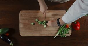Chef Cuts the Cucumber on the Board. HD stock footage