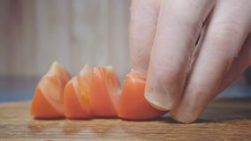 Chef cuts the tomato stock video footage