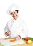 Chef Cuts Up Veggies photo libre de droits