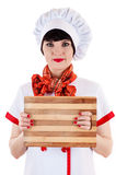 Chef with a cutting board Royalty Free Stock Images