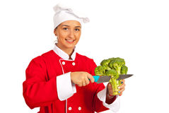Chef cutting broccoli Royalty Free Stock Photography