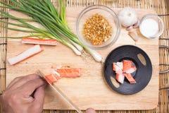 Chef cutting crab imitation Stock Photos