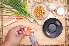 Chef cutting crab imitation Royalty Free Stock Photography