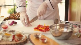Chef cutting onion. stock footage