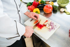 Chef cutting onions and vegetable to prepare for cooking Royalty Free Stock Photo