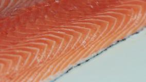 Chef cutting the salmon, preparing salmon stock footage