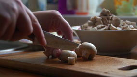 Chef cutting up mushroom an with a knife stock footage