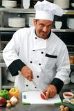 Chef cutting vegetables Stock Photography
