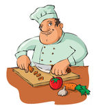 Chef cutting vegetables Royalty Free Stock Photos