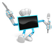 Chef Cyan TV Character right hand, Fork in the left hand holding Royalty Free Stock Images