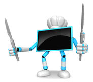 Chef Cyan TV Character right hand, Fork in the left hand holding Royalty Free Stock Photo