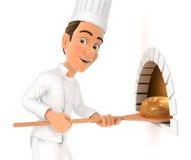 chef 3d principal mettant le pain en four Illustration de Vecteur
