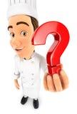 chef 3d que lleva a cabo un icono del signo de interrogación Fotos de archivo libres de regalías