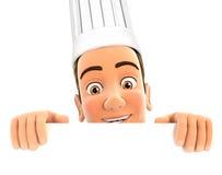 chef 3d que oculta detrás de la pared blanca Imagenes de archivo
