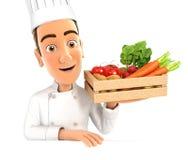 chef 3d que sostiene el cajón de madera de verduras stock de ilustración