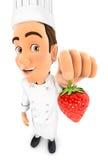 chef 3d que sostiene una fresa Fotos de archivo libres de regalías