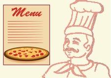Chef dans l'image tramée avec la carte et la pizza. Photo stock