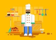 Chef dans l'uniforme, cuisine, ustensiles, meubles Images stock