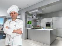 Chef dans la cuisine industrielle fraîche illustration libre de droits