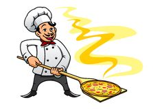 Chef de boulanger de bande dessinée faisant cuire la pizza illustration de vecteur