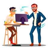 Chef de cri de chef à partir de l'ordinateur sur le vecteur effrayé des employés Illustration d'isolement illustration de vecteur