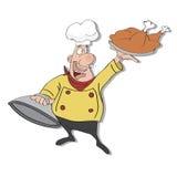 chef de dessin animé avec le plateau de la nourriture à disposition Photo stock