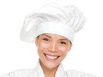 Chef de femme, cuisinier ou verticale de boulanger d'isolement Photo stock