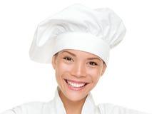 Chef de femme, cuisinier ou verticale de boulanger d'isolement Photo stock