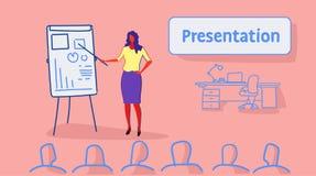 Chef de femme d'affaires dirigeant le graphique financier sur l'équipe de femme d'affaires de concept de présentation de réunion  illustration stock