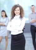 Chef de file des affaires féminin Image libre de droits