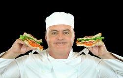 Chef de fixation de sandwich photos libres de droits