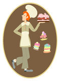Chef de gingembre avec un grand gâteau crémeux Photo libre de droits